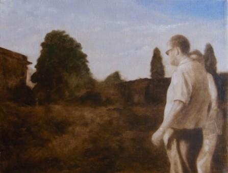 Bosch_Spaziergang mit Baum_24 x 18 cm_Öl auf Leinen_2012
