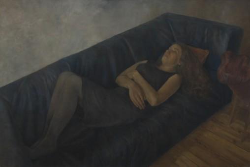 Klaas Bosch_Liegende auf dem Sofa_90x60 cm_Öl auf Leinen_2014