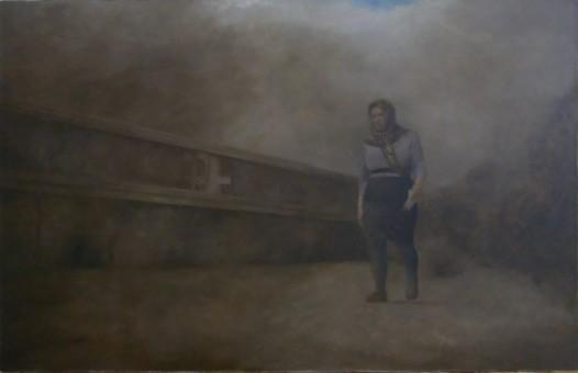Klaas Bosch_Woman walking_80x110cm_Öl auf Leinen_2015